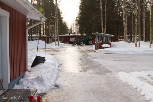 Konnevesi Research Station, Finland, from my door-step, before putting on my skates, a lot of ice!