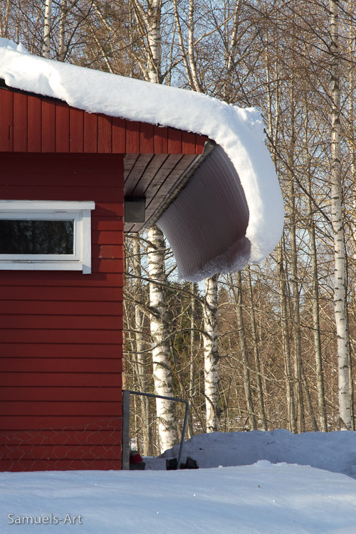 Konnevesi Research Station, Finland, the little hut opposite, when the snow began to melt!